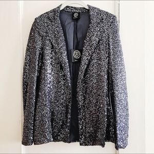 NWT Bobeau Sequin Charcoal Grey Jacket